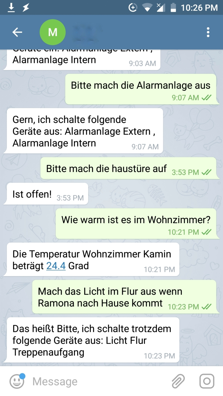 Telegram Chat mit SmartHome
