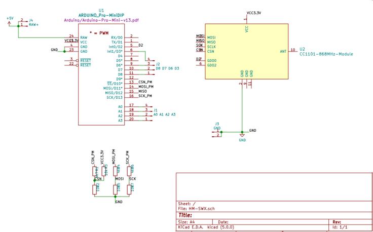 HM-LC-SWX-SM HomeMatic Arduino CC1101 Schaltplan